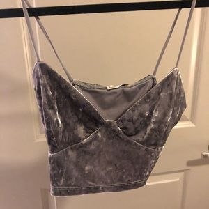 Tops - Grey velvet crop top